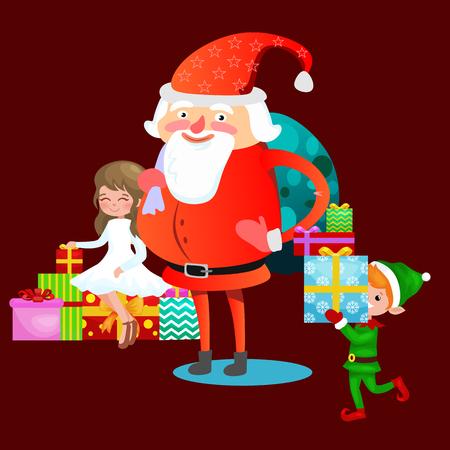 Kerstman in rode hoed met baard zit op stoel met in de hand haas die wens maakt, kat ligt op stapel van geschenken elf bereidt geschenken voor, trouwt met Kerstmis en gelukkig Nieuwjaar vectorillustratie. Stockfoto - 91387059