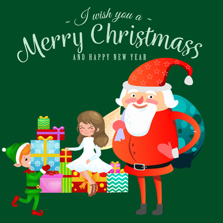 Santa Claus in red hat with beard sits on chair with hare in hand which makes wish, cat lies on pile of gifts elf prepares gifts, marry of Christmas and Happy New Year vector illustration.