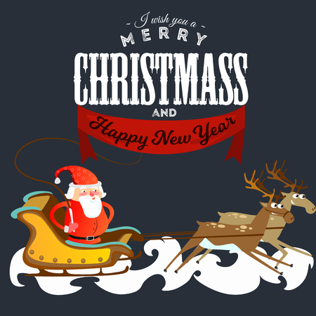 Santa Claus in a red hat and jacket, with a beard rushes in a sleigh chasing his reindeer, marry of Christmas and Happy New Year vector illustration.
