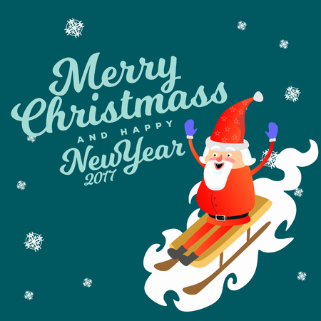 santa claus in red hat and jacket, with beard rolling down from mountain on white snow sleigh, marry of christmas and happy new year vector illustration.