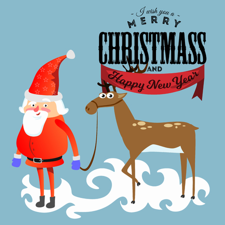 santa claus in red hat and jacket, with beard holding halper reindeer, marry of christmas and happy new year vector illustration.