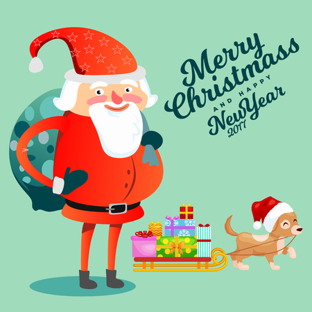 Santa Claus with hefty bag of gifts on his back congratulates everyone with Christmas and happy new year, pet dog puppy is dragging sleigh with festive boxes vector illustration. Illustration