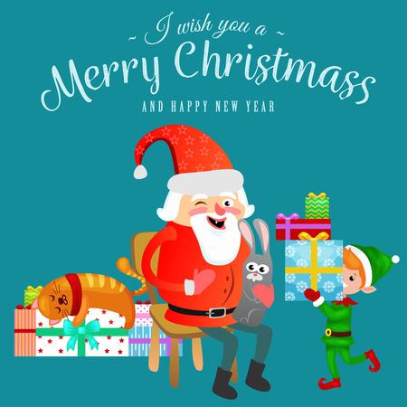 Kerstman in rode hoed met baard zit op stoel met in de hand haas die wens maakt, kat ligt op stapel van geschenken elf bereidt geschenken voor, trouwt met Kerstmis en gelukkig Nieuwjaar vectorillustratie.