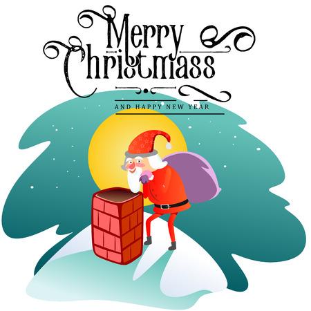 Santa Claus-mens in rood kostuum en baard met zak van giften achter hem beklimt in schoorsteen, huwt van Kerstmis en gelukkige nieuwe jaar vectorillustratie op witte kaart als achtergrond.