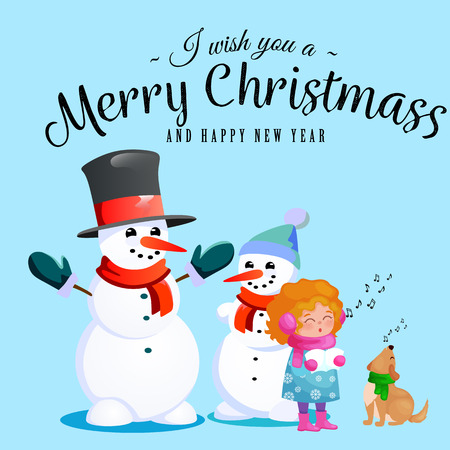 Family of snowman in black hat and gloves, red scarf tied around neck, nose from the carrot, little girl singing holiday songs and dog helping her, marry christmas happy new year vector illustration Imagens - 91389483
