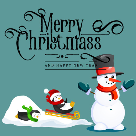 Snowman in black hat and gloves, red scarf tied around neck, nose from the carrot, penguins ride from snow hill on sleigh, marry christmas happy new year vector illustration Иллюстрация