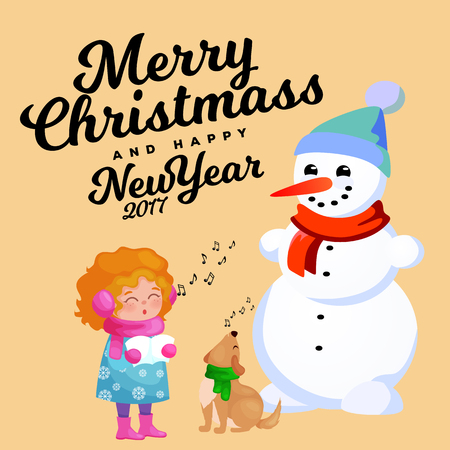 Family of snowman in black hat and gloves, red scarf tied around neck, nose from the carrot, little girl singing holiday songs and dog helping her, marry christmas happy new year vector illustration. Иллюстрация