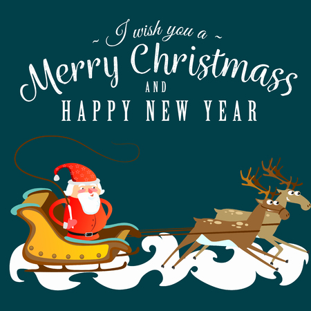 santa claus in a red hat and jacket, with a beard rushes in a sleigh chasing his reindeer, marry of christmas and happy new year vector illustration. Иллюстрация