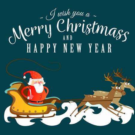 Santa claus in een rode hoed en jas, met een baard rent in een slee achter zijn rendieren, trouwen met Kerstmis en gelukkig Nieuwjaar vector illustratie. Stock Illustratie