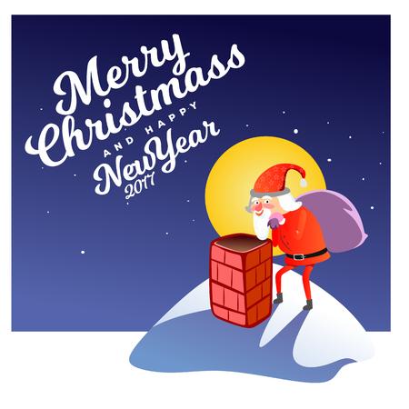 De mens in rood kostuum en baard met zak van giften achter hem beklimt in schoorsteen, de uitrusting van de de aandrijvingskerstmis van het arierendier, vrolijke sneeuwman vectorillustratie.