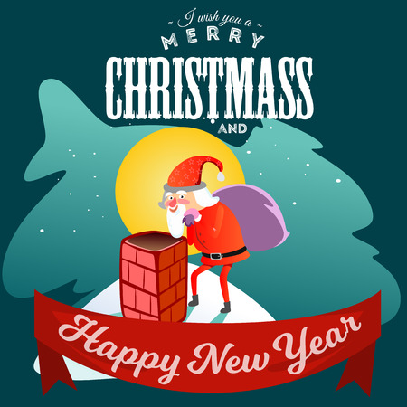 Santa Claus man in red suit and beard with bag of gifts behind him climbs into chimney, marry of christmas and happy new year vector illustration on white background card. Иллюстрация