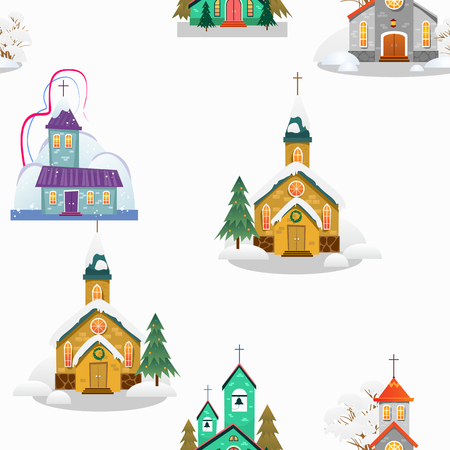 Church and green tree under snow, christianity and Catholic winter city cathedral vector illustration, religious holy background. Иллюстрация