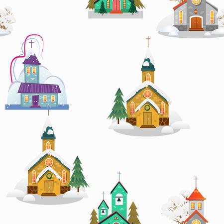 Kerk en groene boom onder sneeuw, christendom en katholieke winter stad kathedraal vectorillustratie, religieuze heilige achtergrond. Stock Illustratie