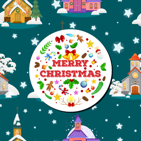 merry christmas and happy new year card, church and green tree under snow, christianity and Catholic winter city cathedral vector illustration, religious holy background. Иллюстрация