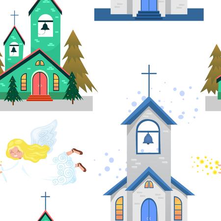 Prettige kerstdagen en gelukkig nieuwjaarskaart, kerk en groene boom onder sneeuw, christendom en katholieke winter stad kathedraal vector illustratie, religieuze heilige achtergrond. Stockfoto - 91391683