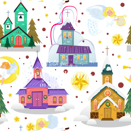 merry christmas and happy new year card, church and green tree under snow, christianity and Catholic winter city cathedral vector illustration, religious holy background. Illustration