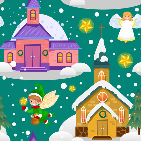 merry christmas and happy new year card, church and green tree under snow, christianity and Catholic winter city cathedral vector illustration, religious holy background. Imagens - 91392222