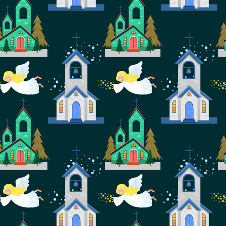 Church and green tree under snow, christianity and Catholic winter city cathedral vector illustration, religious holy background. 일러스트