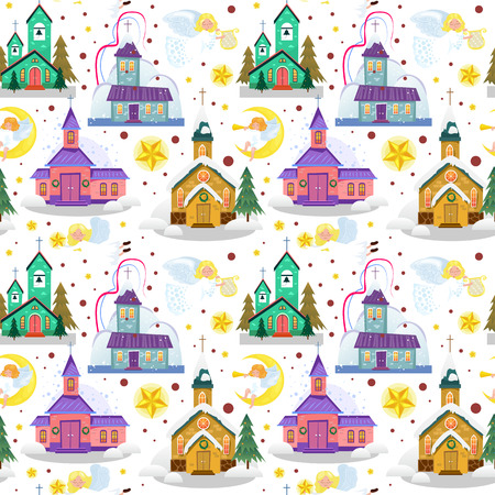 Merry christmas and happy new year card, church and green tree under snow, christianity and Catholic winter city cathedral vector illustration, religious holy background.