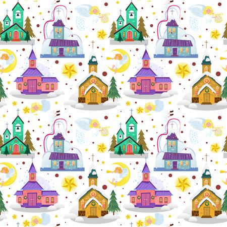 Vrolijke Kerstmis en gelukkige nieuwe jaarkaart, kerk en groene boom onder sneeuw, christendom en katholieke de kathedraal vectorillustratie van de de winterstad, godsdienstige heilige achtergrond. Stockfoto - 91394353