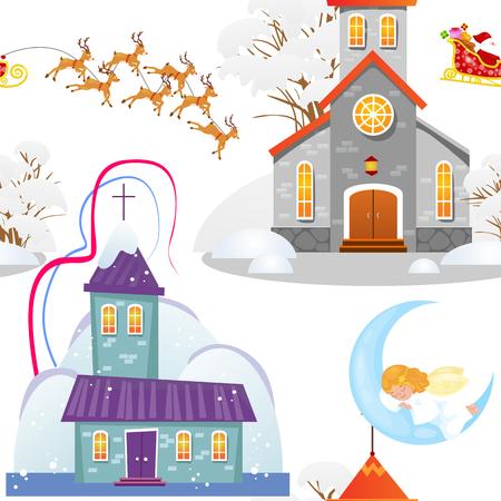 Vrolijke Kerstmis en gelukkige nieuwe jaarkaart, kerk en groene boom onder sneeuw, christendom en katholieke de kathedraal vectorillustratie van de de winterstad, godsdienstige heilige achtergrond. Stockfoto - 91394357