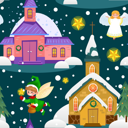 Prettige kerstdagen en gelukkig Nieuwjaar naadloze patroon, kerk en groene boom onder sneeuw, christendom en katholieke winter stad kathedraal vectorillustratie, religieuze heilige achtergrond