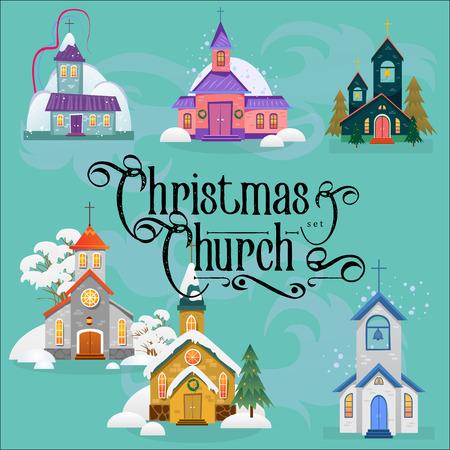 Prettige kerstdagen en gelukkig nieuwjaarskaart met kerk en groene boom onder ontwerp. Stock Illustratie