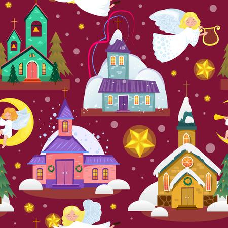 Prettige kerstdagen en gelukkig nieuwjaarskaart, kerk en groene boom onder sneeuw, christendom en katholieke winter stad kathedraal vectorillustratie, religieuze heilige achtergrond.