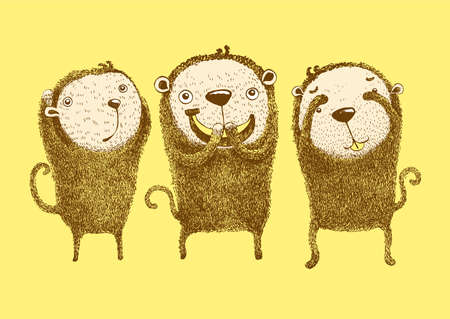 3 Wise Monkeys, Hear no evil, See no evil, Speak no evil, cute monkeys, Vector