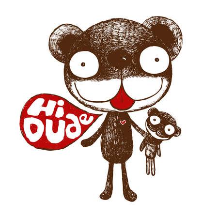brown bear, cute bear illustration, friendly hug bear, duo bear,character cartoon , vector