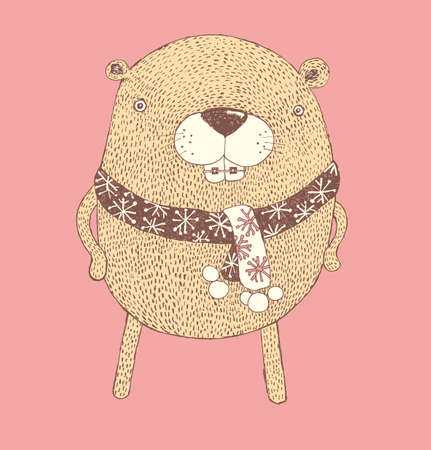 chubby beaver, Cartoon characters, Vector of cute forest animals, vector