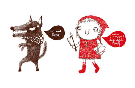 Red Riding Hood and the Big Bad Wolf, revenge of the Red Riding Hood, wolf, vector
