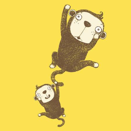 naughty monkeys, duo monkeys, funny monkey,Vector Cartoon Cute Funny Monkeys,Cartoon and vector isolated character. Beautiful vector design, vector