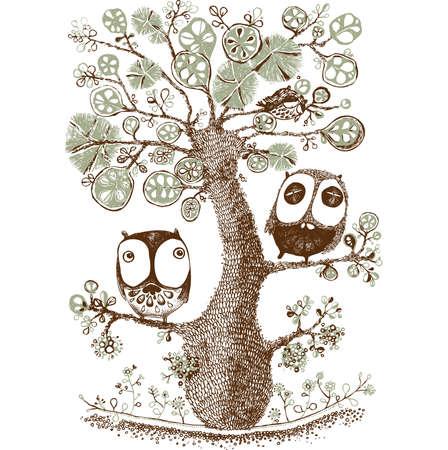 cute duo owls hang on the tree, Wildlife, Print - Vector