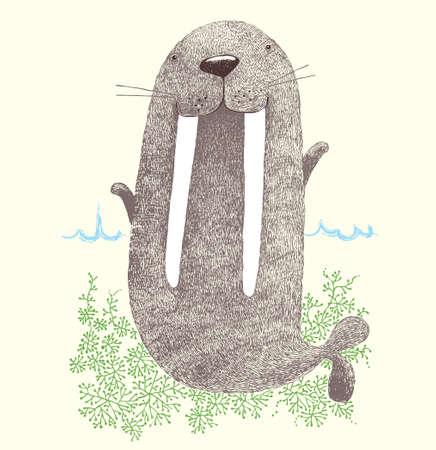 walrus, cute walrus,chubby walrus, funny walrus, happy day, Vector Çizim