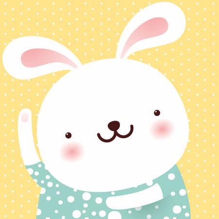 Cute Rabbit dance, cartoon character, Easter greeting card, vector