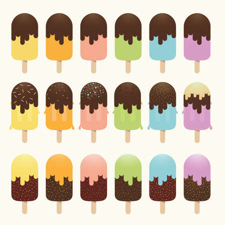 Ice cream sticks on pastel color, Chocolate dip, rainbow colored fruity collection, dessert, vector