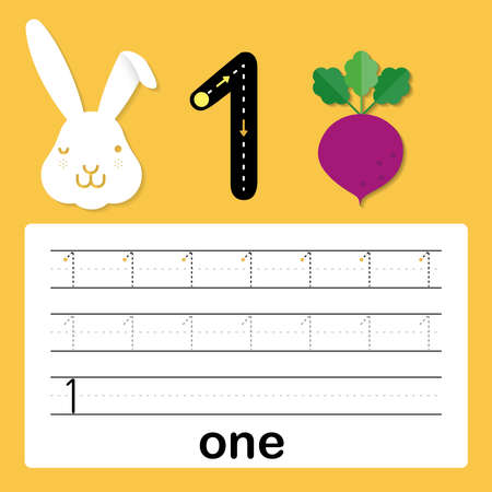 Number one, card for kids learning to count and to write, worksheet for kids to practice writing skill, Vector illustration