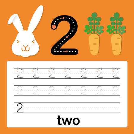 Number two, card for kids learning to count and to write, worksheet for kids to practice writing skill, Vector illustration Stock Illustratie