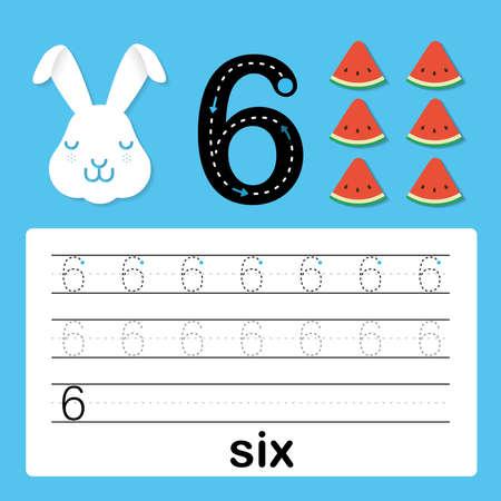 Número seis, tarjeta para que los niños aprendan a contar y escribir, hoja de trabajo para que los niños practiquen la habilidad de escribir, ilustración vectorial