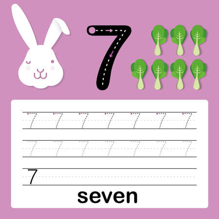 Number seven, card for kids learning to count and to write, worksheet for kids to practice writing skill, Vector illustration, card for kids learning to count and to write, worksheet for kids to practice writing skill, Vector illustration Illustration