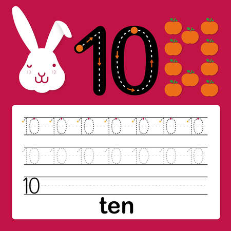 Number ten, card for kids learning to count and to write, worksheet for kids to practice writing skill, Vector illustration