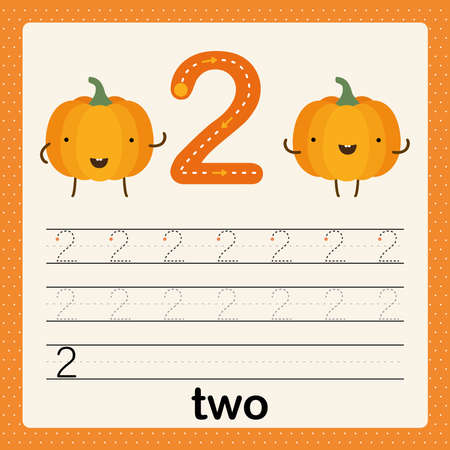 Number 2, card for kids learning to count and to write, worksheet for kids to practice writing skill, Vector illustration, printable worksheet for preschool kids, basic writing skill Ilustração