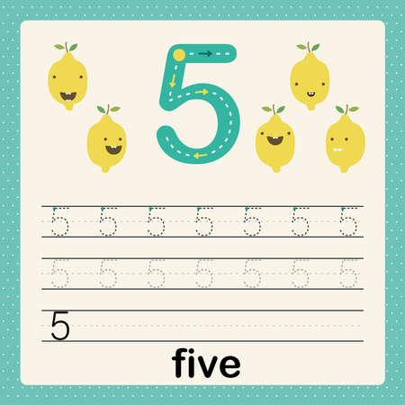 Nummer 5, Karte für Kinder, die zählen und schreiben lernen, Arbeitsblatt für Kinder, um Schreibfähigkeiten zu üben, Vektorgrafik, druckbares Arbeitsblatt für Kinder im Vorschulalter, grundlegende Schreibfähigkeiten Vektorgrafik