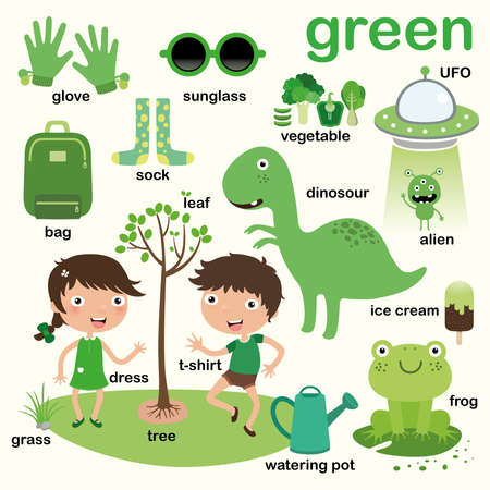 Apprendre la couleur verte, Éduquer la couleur et l'ensemble de vocabulaire, Illustration des couleurs primaires, Illustration vectorielle Vecteurs