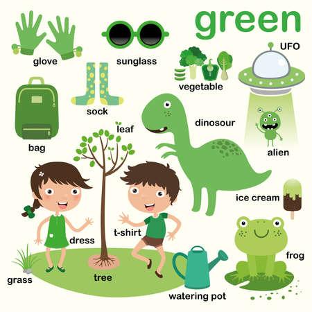 Aprenda el color verde, Eduque el color y el conjunto de vocabulario, Ilustración de colores primarios, Ilustración vectorial Ilustración de vector