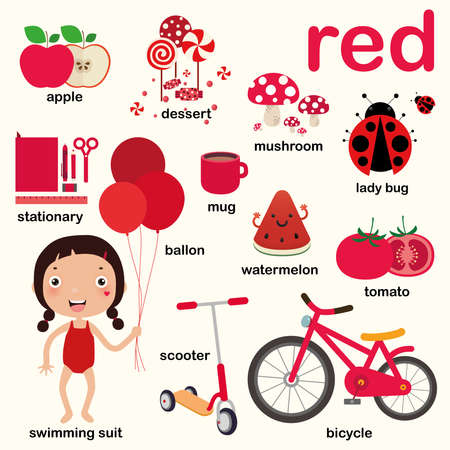 Learn red color, Educate color and vocabulary set, Illustration of primary colors, Vector illustration Vector Illustration
