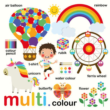 Learn multi-colors, Educate color and vocabulary set, Illustration of primary colors, Vector illustration