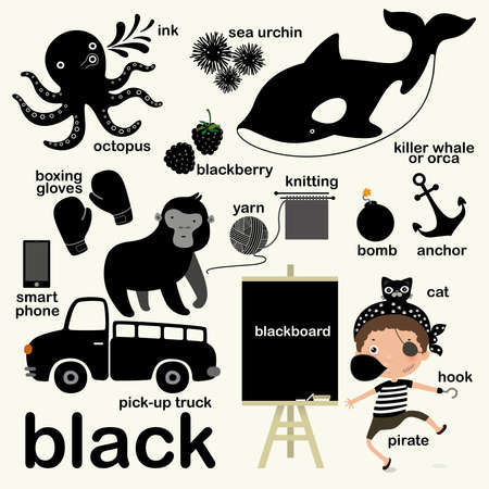 Learn black color, Educate color and vocabulary set, Illustration of primary colors, Vector illustration
