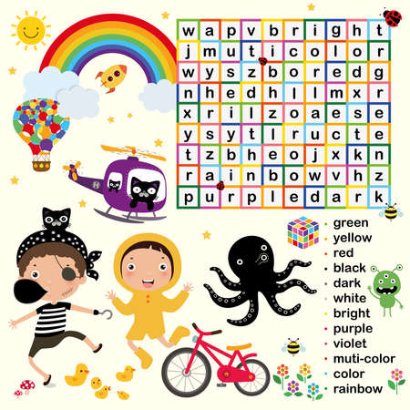 Education game for kids, Word search puzzle activity, Vector flat style illustration kids, color learning vocabulary theme
